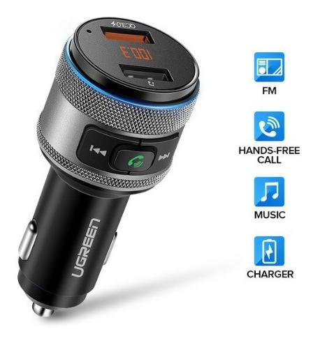carregador de carro qc 3.0 com usb bluetooth + suporte tel