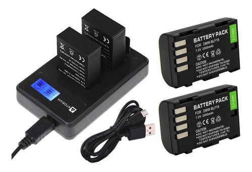 carregador duplo +2x bateria dmw-blf19 panasonic gh3 gh4 gh5