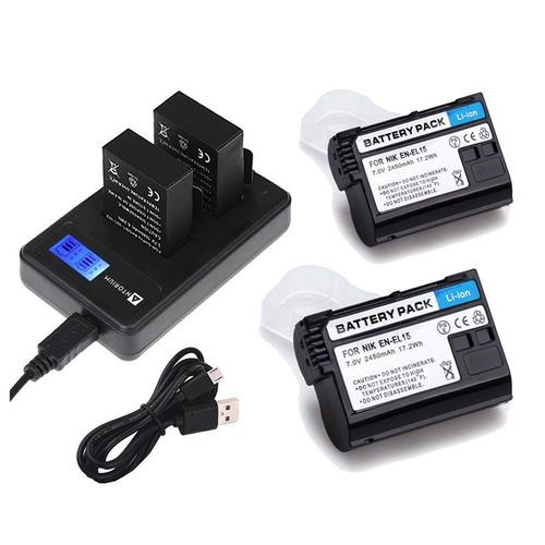 carregador duplo +2x bateria nikon en-el15 d7500 d7200 d7100