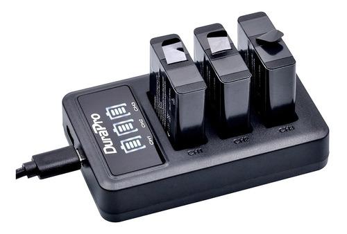 carregador duplo +3x bateria gopro hero 5 6 7 black durapro