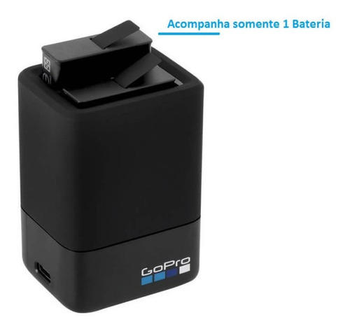 carregador duplo + bateria gopro hero 8 7 6 5 black original