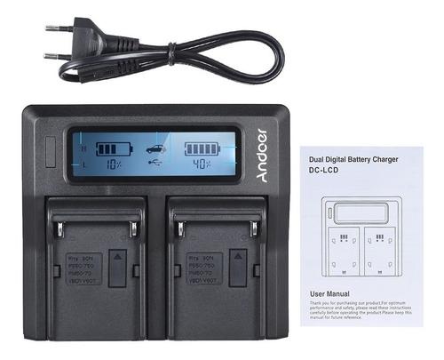 carregador duplo digital lcd bateria sony np-f970