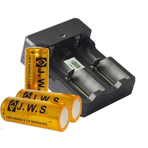carregador duplo p/ bateria + 2 bateria 26650 3.7v 8800mah