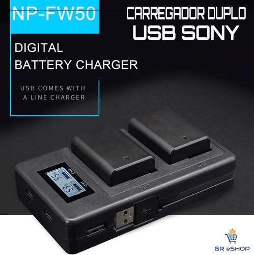 carregador duplo rápido sony a7s a7ii a6000 a6300 a6500