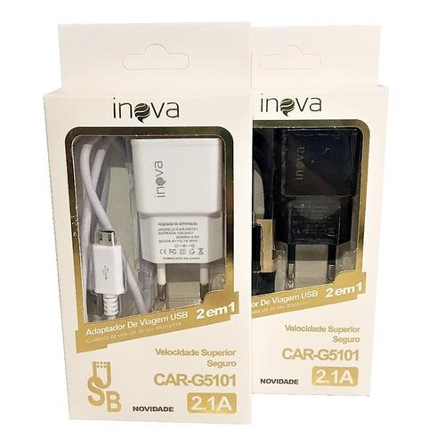 carregador inova v8 original g5101 2.1a atacado 10 unidades
