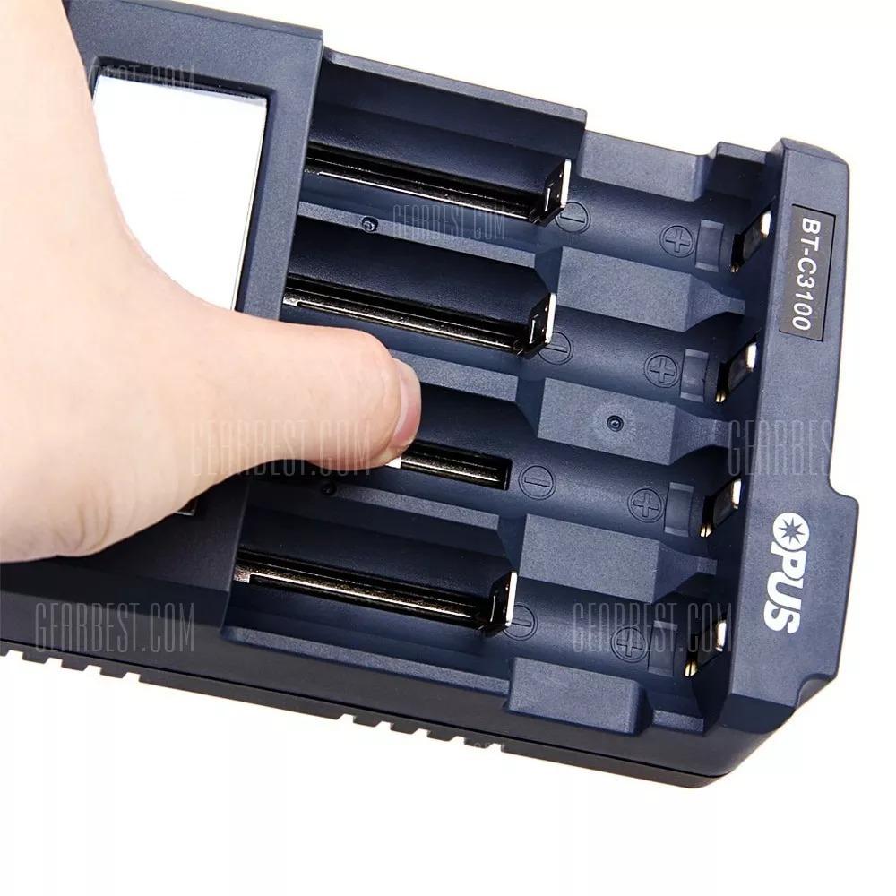 Opus BT-C700 LCD 4 Slot Smart Li-ion NiCd NiMH AA AAA Battery Charger EU PLUG
