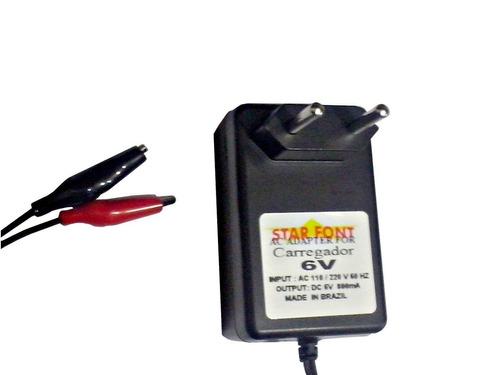 carregador para bateria 6v 12ah - moto elétrica brinquedos