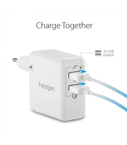 carregador parede dual usb original spigen quick charge 3.0