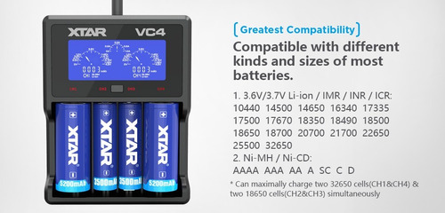 carregador pilha bateria xtar vc4 aa/aaa/c/d/18650/14500/340