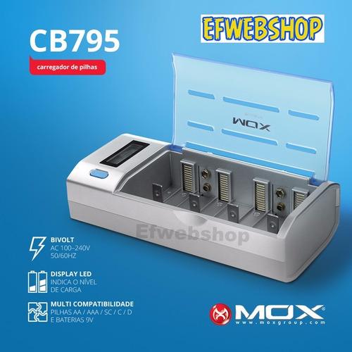 carregador pilhas rápido mox universal aa aaa c d 9v cb795