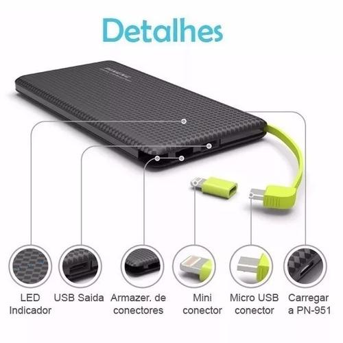 carregador portatil celular 10000mah bateria externa pineng