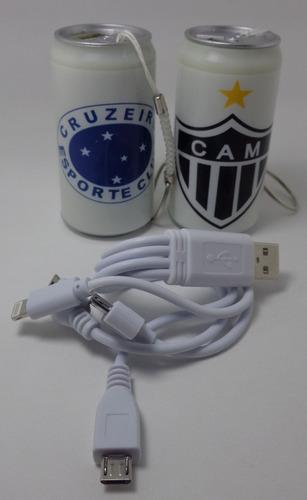 carregador portatil lata time futebol cruzeiro e galo