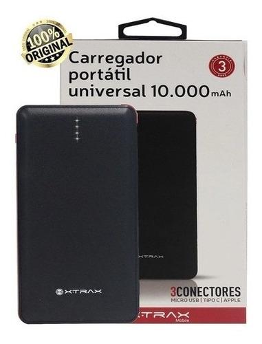 carregador portátil power bank dual 10.000mah xtrax - preto