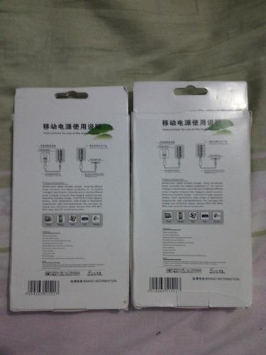carregador power bank 10000mah double usb branco ou preto.