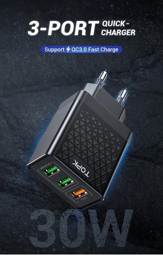 carregador rápido topk 3 portas usb qc3.0 30w 3a branco