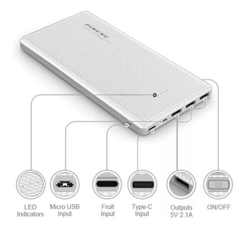 carregador slim portátil bateria pineng 20000mah 8 cargador