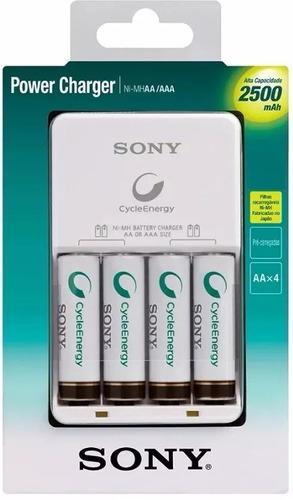 carregador sony 8 pilhas aa 2500 recarregavel original nf-e