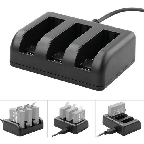 carregador triplo com cabo de conexão usb gopro 5 6 7 black