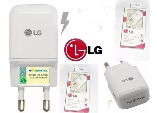 carregador turbo lg rapido k4 k5 k8 k10 pro lg x power 15w