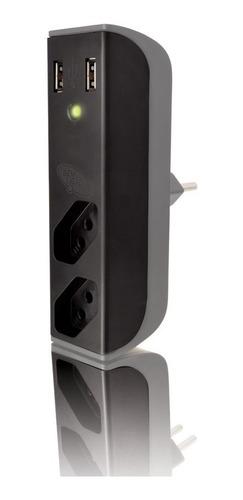 carregador usb com filtro de linha preto fl-usb21gbk