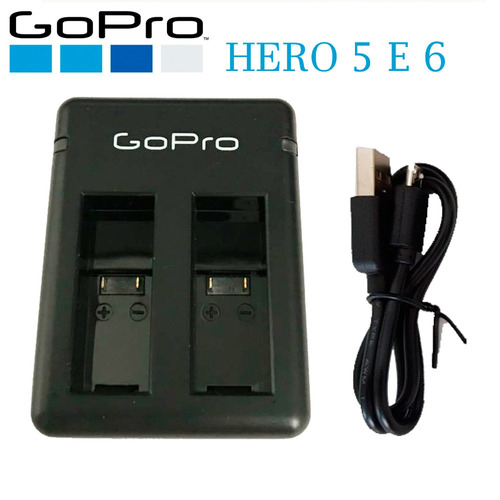 carregador usb duplo de bateria para go pro hero 5 6 black