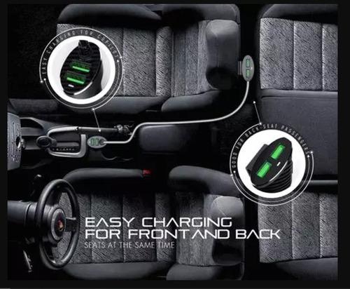 carregador veicular 4 portas usb 5.1v passageiro + motorista