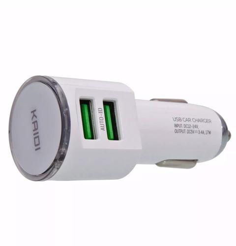 carregador veicular turbo 2 usb + cabo usb v8 suporte painel