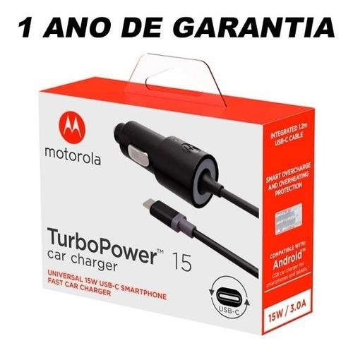 carregador veicular turbopower original motorola usb c tipo c p/ moto z z2 z3 play g6 g7 plus one 1 ano de garantia