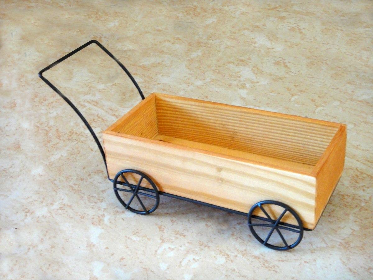 Carreta base madera herrer a maceta mesa dulces jard n for Carreta de madera para jardin