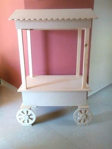 Carreta de dulces decoraci n mobiliario candy bar mdf for Mini candy bar de madera