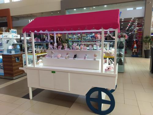 carreta de madera para dulces, zapatos, productos varios, et