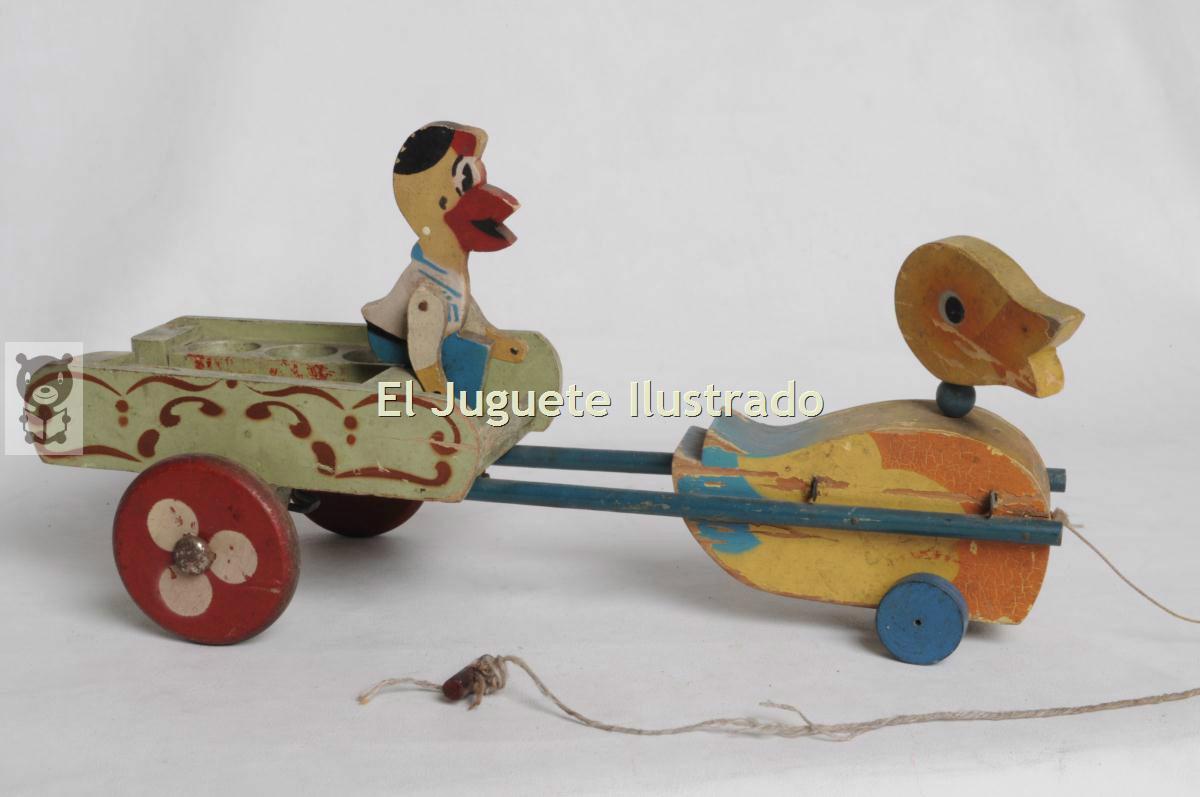 De Pato 00 450 Madera Carreta C Antiguo 19502 Juguete Arrastre lK1TFJcu35