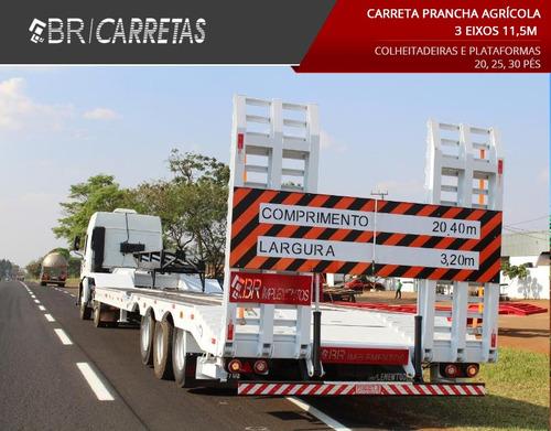 carreta prancha  3 eixos nova 2019  br carretas
