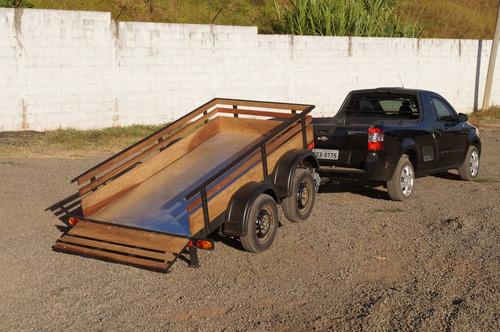 carreta reboque fazendinha 1200kg - bravo carretas chassi 02