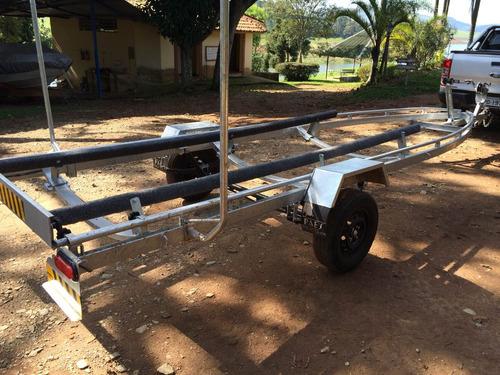 carreta rodoviária galvanizada para lancha de 19 pés