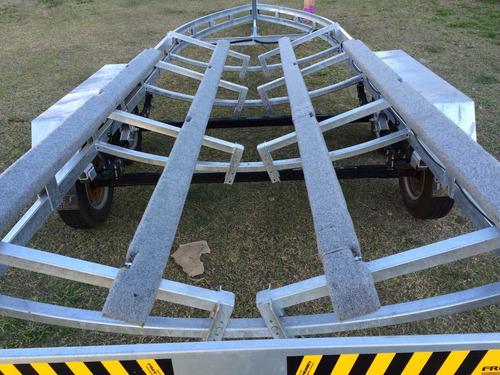 carreta rodoviária galvanizada trucada lancha 26 pés
