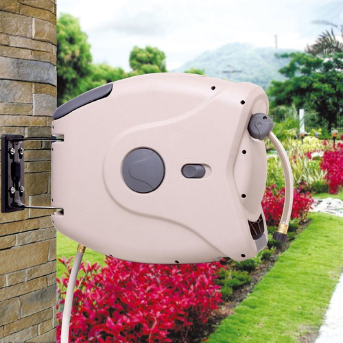 carrete enrollador manguera de jardin sunneday retractil 30m