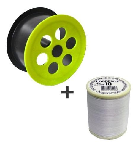 carretilha 21 cm para pipa + linha 10 corrente de 500 jds