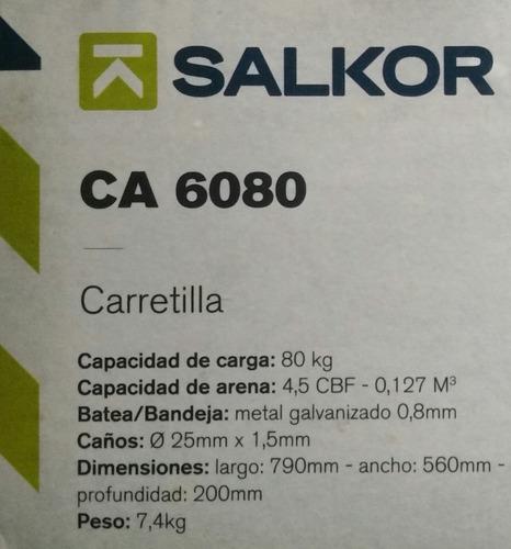 carretilla 120 kg. reforzada de acero grueso c/rueda salkor