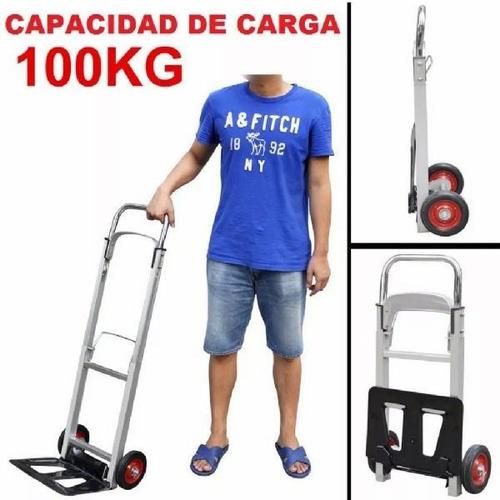 carretilla  de carga , plegable aluminio doble hasta 100 kil
