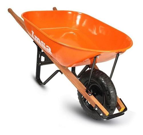 carretilla versatil naranja bastidor madera platon metalico
