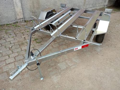 carretinha carreta p/ 3 motos mede 1,40 x 2m trilhos e rampa