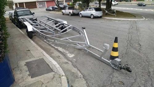 carretinha lancha 22 a 26 pés freio inercial truk rodas s10