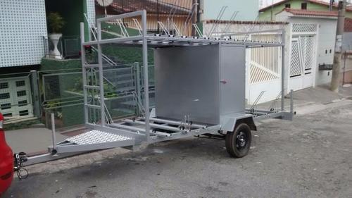 carretinha para transporte de 20 bikes com baú porta treco