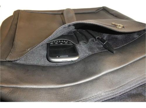 carriel bolso cuero 100% legitimo unisex maletin grande