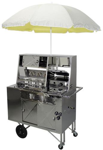 carrinho 2 em 1 hotdog e lanche com chapa cx térmica inox r2