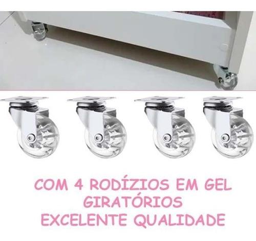 carrinho auxiliar p/cabeleireiro estética 100%mdf 4 bandejas