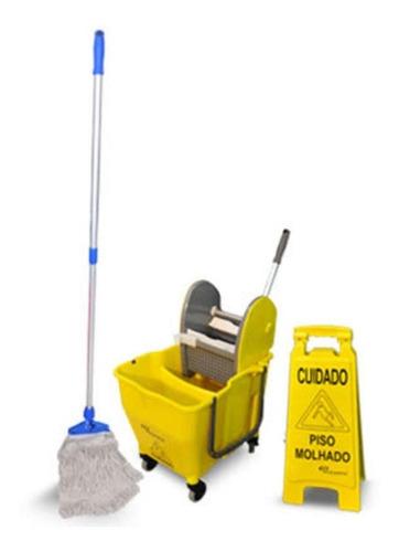 carrinho balde espremed limpeza mop com divisor de áquas