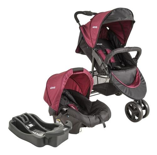 carrinho bebê t system trio preto e vinho + base lenox whoop