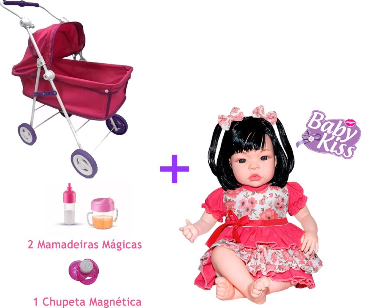 6f3f8ed27d Carrinho Berço Boneca + Baby Bebe Kiss + Mamadeira Chupeta - R  238 ...